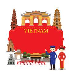 vietnam landmarks people in traditional clothing vector image