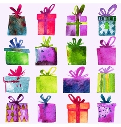 Watercolor Christmas set with gift boxes vector image
