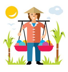 asian vendor flat style colorful cartoon vector image