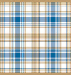 Blue gold white check fabric texture seamless vector