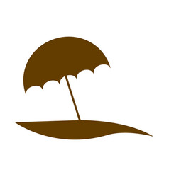 brown silhouette beach with umbrella vector image vector image