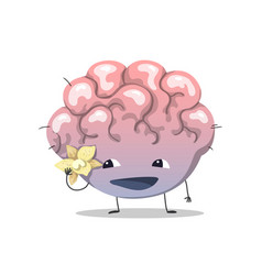 cute brain character vector image
