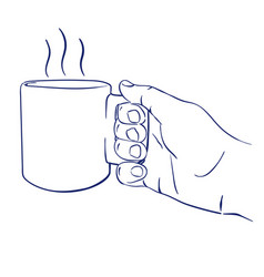 mug with hot tea in hand vector image vector image