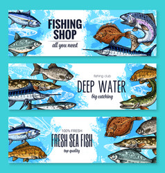 Sketch banners of fish for fishing shop vector