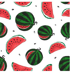 water melon seamless pattern isolated on white vector image vector image