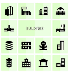 14 buildings icons vector