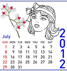 2012 year calendar in july vector image