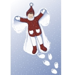 a cute girl making Snow Angel vector image