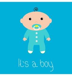 Baby shower card Its a boy Flat design style vector