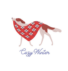 beautiful dog domestic animal carrying warm red vector image