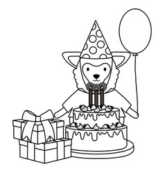 beautiful lamb in birthday party vector image