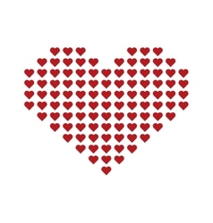 Big red heart consisting of small hearts vector