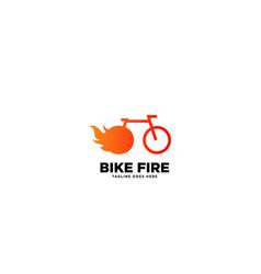 Bike fire logo design template vector