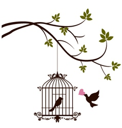 Bird are bringing love to the bird in the cage vector