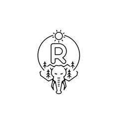 Black line art elephant head with r initial vector
