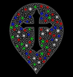 Bright mesh network christian cross marker with vector