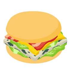 burger american icon isometric 3d style vector image