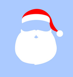 cap and mustache with a beard of santa claus on a vector image