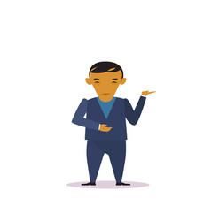 cartoon asian business man in suit gesturing vector image
