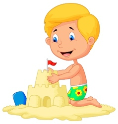 Cartoon boy making sand castle vector image