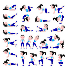 cartoon girl in blue suit doing fitness exercises vector image
