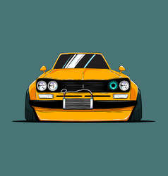 Cartoon tuned old japan car front view vector