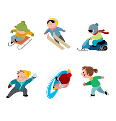 children and winter games vector image