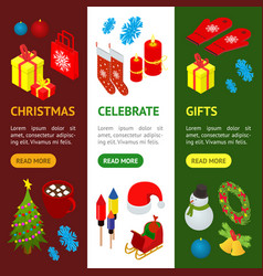 christmas celebration banner vecrtical set 3d vector image