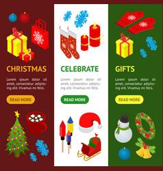 christmas celebration banner vecrtical set 3d vector image