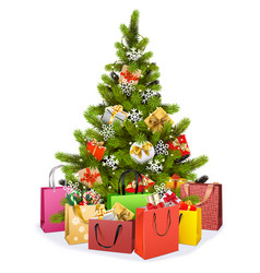 christmas tree with shopping bags vector image