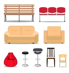 Colorful set of seats vector