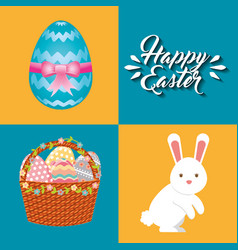 Cute rabbit character easter season vector