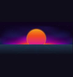 cyberpunk neon sun background vector image
