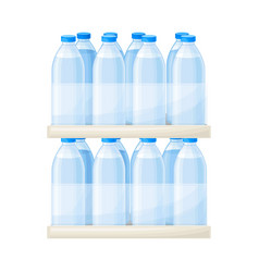 Drinking water poured in plastic bottles rested vector