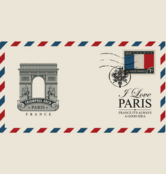 envelope with paris arc de triomphe vector image