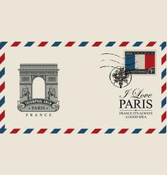 Envelope with paris arc de triomphe vector