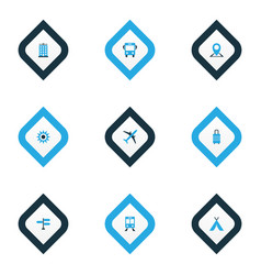 Exploration icons colored set with location vector