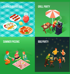 family picnic isometric concept vector image