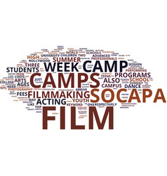film camp text background word cloud concept vector image