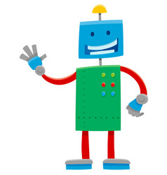 Funny robot or droid cartoon character vector