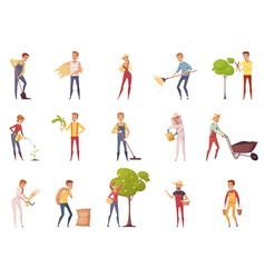 Gardener Characters Icon Set vector