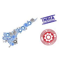 Gear mosaic andhra pradesh state map and vector
