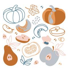 Gifts autumn fall hand drawn flat design vector