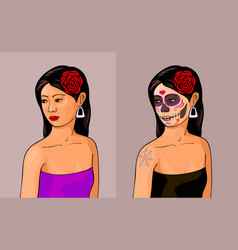 Girl with calavera makeup vector