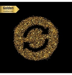 Gold glitter icon of arrows isolated on vector