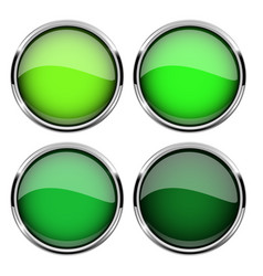 green glass buttons with metal frame set of shiny vector image
