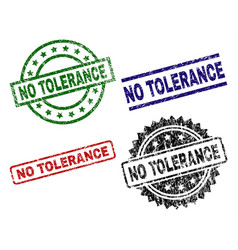 Grunge textured no tolerance seal stamps vector
