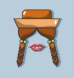 Hairstyle braids hat and mouth related with vector