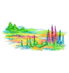 Hand drawn flowers and trees on meadow vector