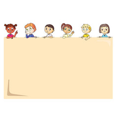 happy little kids peeping behind empty placard vector image